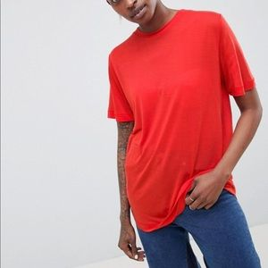 ASOS WHITE 100% Lyocell T-Shirt in Red